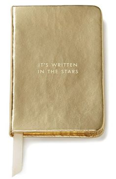 Gold 'it's written in the stars' mini notebook by kate spade, embossed metallic cover and satin placeholder