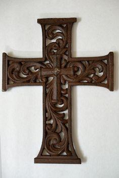 Framed Scrolled Cast Iron Fleur de Lis Wall Cross