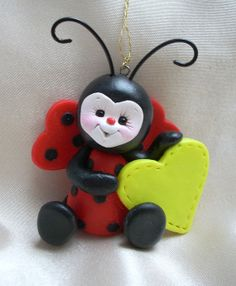 ladybug lady bug sculpture Christmas ornament sculpture by clayqts