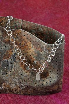 Hammered sterling silver chain with hallmark tag - Handmade silver chain - circle jewelry - circle c Hammered Silver, Sterling Silver Chains, Silver Jewelry, Silver Ring, Silver Earrings, Handmade Silver, Handmade Jewelry, That Way, Wedding Jewelry