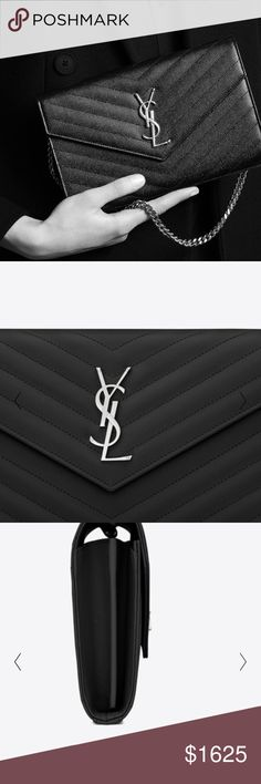 Large Monogram Quilted Leather Wallet Chain Brand New! Black leather with silver hardware. Great evening bag! Comes with box, dust bag, shopping bag and copy of receipt. Willing to negotiate price - email me at brina924@gmail.com. Happy Shopping! Yves Saint Laurent Bags Crossbody Bags