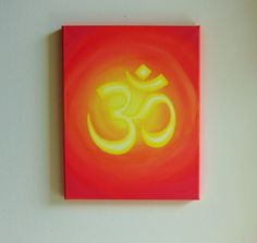 Om Sanskrit Symbol Original Art 11x14 Canvas, Inspirational Painting, Red and Yellow, Buddhist Yoga Artwork. $45.00, via Etsy.