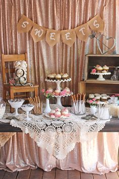 "Glory describes her vintage dessert table as a mixture of  ""rustic and romantic"".  Created for a wedding shower for a family friend, we can see this pretty display working equally well as a dessert table for a rustic wedding.  Using both homemade and store bought items, this spread could be easily duplicated by all you …"