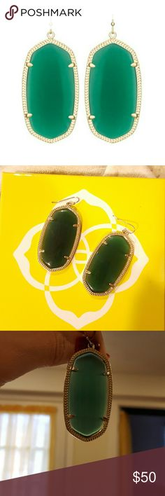 Kendra Scott Danielle earrings in Green No tarnishing, great condition! The stones have natural vertical striations. They also seem have a couple vertical very faint scratches on the Back side. Totally not noticeable while wearing! You can hardy notice unless you inspect very closely. Pretty color,  lets light through. They look a bit different, depending on the lighting. Kendra Scott Jewelry Earrings