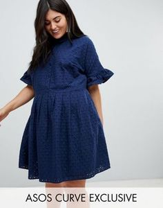 91c042ec84ce ASOS DESIGN Curve Broderie Shirt Dress Plus Size Womens Clothing, Plus Size  Fashion, Clothes
