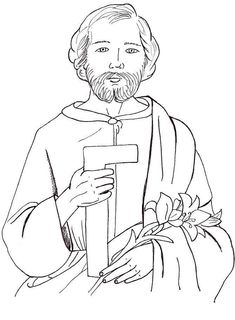 32 St Joseph Coloring Page School Coloring Pages, Adult Coloring Pages, Coloring Sheets, Catholic Crafts, Catholic Kids, Joseph Activities, Joseph Crafts, St Josephs Day, Mosaic Art Projects