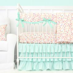 This sweet peach, pink, and mint floral baby bedding features a mini floral print that coordinate beautifully with a mint ruffle crib skirt. Bring a vintage touch into the nursery with our Mini Floral Mint Pastel designer baby bedding. Baby Girl Nursery Bedding, Baby Bedding Sets, Crib Sets, Pink Bedding, Mint Nursery, Baby Bedroom, Baby Corner, Girl Cribs, Baby Room Decor