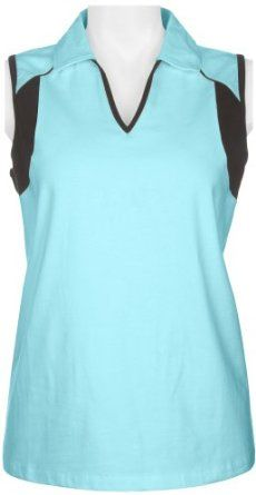 Coral Bay Golf Solid Sleeveless Polo Shirt BLUE/WHTE Small Coral Bay. $17.00