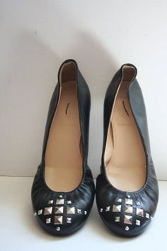 JCrew Cece Pyramid-Studded Ballet Flats Size 6.5 Black Leather Shoes #JCrew #BalletFlats