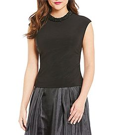 5fe1d410866 J.R. Nites Cap-Sleeve Beaded Roll-Neck Top