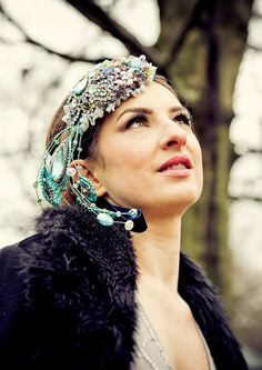 CYBER MONDAY SALE - ENDING TODAY! Take £50 off the listed price - please check shop announcements for coupon code!  Wedding bridal headband THE PEACOCK EMPRESS  Up for sale is