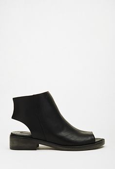 Faux Leather Cutout Booties | Forever 21 - 2052287954