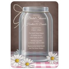 Country Rustic Bridal Shower Invitations - Mason Jar Daisy Pink Gingham