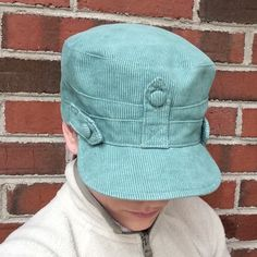 Mint Green Conductor Hat Sateen Lined Courderoy Conductor Hat. Accessories Hats