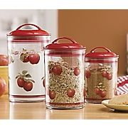 Apple Canister Set is a perfect pick for your colorful kitchen Durable acrylic is nearly unbreakable—and dishwasher safe. Apple Kitchen Decor, Chef Kitchen Decor, Kitchen Decor Themes, Red Kitchen, Kitchen Colors, Kitchen Ideas, Kitchen Utensils, Kitchen Stuff, Country Kitchen
