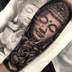 Full Sleeve and Half Sleeve Tattoo Ideas for Women Buddha Tattoos, Buddah Sleeve Tattoo, Buddha Tattoo Design, Hindu Tattoos, Asian Tattoos, Best Sleeve Tattoos, Sleeve Tattoos For Women, Trendy Tattoos, Lotusblume Tattoo