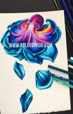 This is a sneak peak of a completed design for our next collection of tanks and tees. Follow us to see more sneak peaks of our latest artwork. This is an octopus morphed into a blue rose.