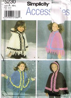 Girls Fleece Hooded Poncho Sewing Pattern Simplicity 5230  by PeoplePackages
