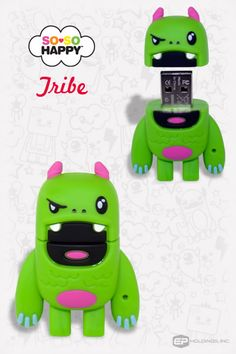 Tribe USB Flash Drive // Tribe has the only known case of Reverse Tourette's, which causes him to shout out random compliments. Despite his fearsome appearance, Tribe is a slave to Love. He can make you fall in love, find it if you lost it, or make you forget about it, whatever is best. Ancestor of the Leafy Sea Dragon, Tribe feels strongly about being plant-friendly. All of his scales are made from 100% genuine leather.