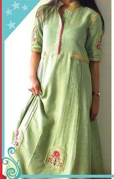 Beautiful khadi-silk kurti with superb detailing and embellishments. Indian Designer Outfits, Indian Outfits, Kurta Designs, Blouse Designs, Classy Suits, Kurti Patterns, Indian Wear, Indian Fashion, Silk Kurti