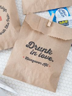 Super Cute, Printable Hangover Kit Bags If having that kind of wedding reception, hangover kit favors are always a nice touch. attended two weddings where I recall being grateful they provided these extra little items and I . Wedding Favours Hangover Kit, Hangover Kit Bags, Summer Wedding Favors, Creative Wedding Favors, Inexpensive Wedding Favors, Elegant Wedding Favors, Wedding Reception, Wedding Gifts, Bachelorette Hangover Kit