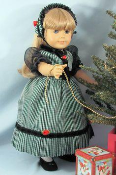 "1850 dress ""Christmas Rose"" made of vintage taffeta."