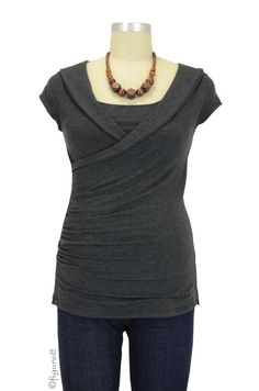I love the style of this nursing shirt! A nice, solid neutral color would go with any printed baby carrier...how about a rainbow wrap? I love the necklace it's shown with and it looks wooden, so it is mostly likely baby-safe. ~Diane