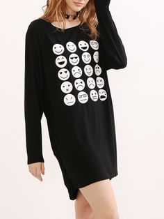 Buy it now. Black Emoji Print Ruched Side Tee Dress. Black Cute Rayon Round Neck Long Sleeve High Low Short Ruched Print Fabric is very stretchy Fall Tshirt Dresses. , vestidoinformal, casual, camiseta, playeros, informales, túnica, estilocamiseta, camisola, vestidodealgodón, vestidosdealgodón, verano, informal, playa, playero, capa, capas, vestidobabydoll, camisole, túnica, shift, pleat, pleated, drape, t-shape, daisy, foldedshoulder, summer, loosefit, tunictop, swing, day, offtheshoulde...