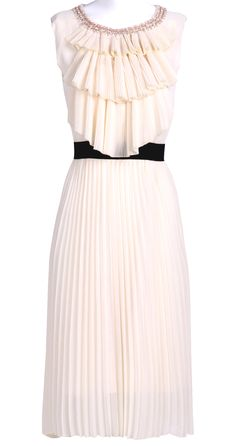 Beige Sleeveless Ruffles Front Pearls Neckline Pleated Silk Dress » Perfect dress for pre-wedding events.