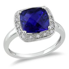 <li>Cushion-cut created sapphire and diamond ring</li><li>10-karat white gold jewelry</li><li><a href='http://www.overstock.com/downloads/pdf/2010_RingSizing.pdf'><span class='links'>Click here for ring sizing guide</span></a></li>