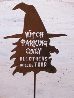 Witch Parking Only Steel Metal Garden Sign by zedszombieranch Halloween Party Supplies, Halloween Yard Decorations, Cute Halloween Costumes, Halloween Signs, Outdoor Halloween, Holidays Halloween, Halloween Crafts, Happy Halloween, Outdoor Decorations