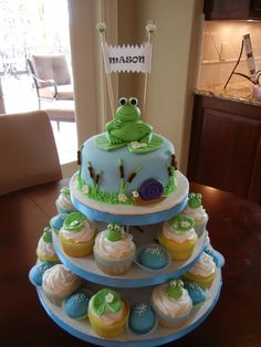Frog themed cake & cupcake tower - I made this for a friends baby shower. The cake is white with raspberry filling. There are 2 flavors of cupcakes - 1 white with rasp filling and the other lemon with lemon filling. Then I made chocolate cake balls and dipped them in blue candy coating.   The frog and accents are made out of fondant.