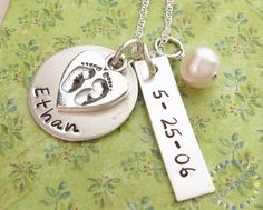 For Erin! - Mother charm Necklace Handstamped mommy BABY FEET by blingmoon, $55.00
