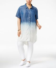 Poetic Justice Trendy Plus Size Chambray Shirtdress $62.00 Always be effortless. Poetic Justice's plus size shirtdress is perfect with leggings and your favorite sneaks.