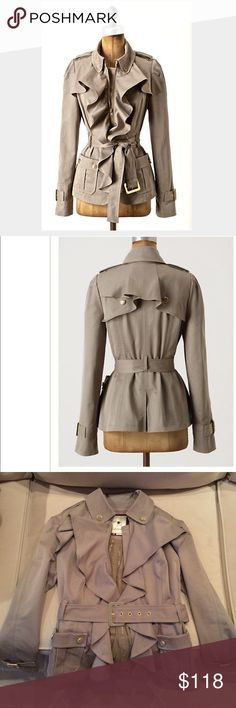 """Anthropologie trench by Elevenses- size 0 Anthropologie femme trench by Elevenses - size 0. Worn twice- excellent condition. Ruffled front, front pockets, removable belt. Zip closure. 25"""" L. Lined. Imported. RARE! Anthropologie Jackets & Coats"""