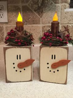 Snowman Primitive Block Candle