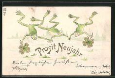 old postcard: Präge-AK Drei Frösche mit Glücksklee, Neujahrsgrüße