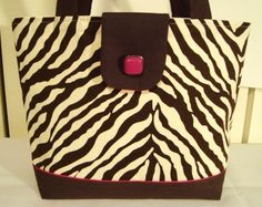 Med Brown Zebra Print Tote w Pink Accents--Book Bag- Diaper Bag-Lunch Bag  $27.99
