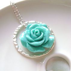 Tiffany Blue Necklace with eternity ring and carved rose flower, Bridal jewelry, bridesmaids gift, weddign jewelry. Bridesmaid Jewelry, Bridesmaid Gifts, Bridal Jewelry, Rose Jewelry, Tiffany Necklace, Blue Necklace, Flower Necklace, Jewelry King, Love Blue