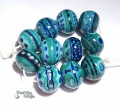 NEBULA Lampwork Beads Handmade Turquoise Teal Cobalt Blues Big Bold Designs Set of 11