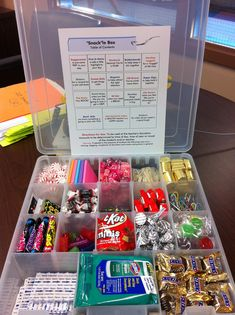 """""""Snack""""le Box - snacks and supplies for your teacher (like a tackle box) Other candy and supplies work, too! Have fun with it!"""