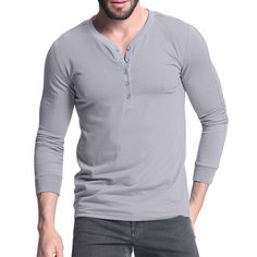 Henley Shirts Slim Fit Plain T-shirt Long Sleeve V Neck For Mens
