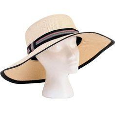 dfc4a5c16c75f Sloggers Sara Braided Wide Hat Cream w  Black White   Red Band Black White  Red