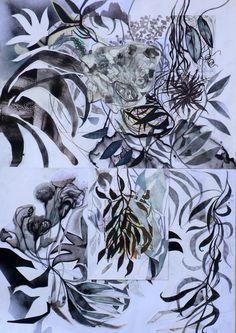 Massimiliano Fabbri / 2014 / grafite, carboncino, china, penna biro, pastello a olio e cera, pennarelli, matita bianca, bomboletta spray e collage su carta, cm 100x70