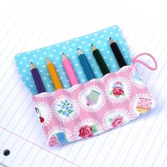 Mini Pencil or Crayon Roll - 'Teatime' - pink, blue - great party favour Blue Polka Dots, Pink Blue, Crayon Roll, Pink Cupcakes, Pencil Eyeliner, Sweet Tea, Handmade Items, Handmade Gifts, Free Uk