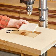 A drill press is a one-job tool right? But as is often the case with tools, many tinkering minds have come up with clever ways to use this shop staple. Woodworking Drill Press, Woodworking Jigsaw, Beginner Woodworking Projects, Woodworking Bench, Woodworking Shop, Woodworking Crafts, Woodworking Techniques, Woodworking Chisels, Woodworking Basics