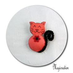 broche chat rouge fleur rouge - Boutique www.magicreation.fr