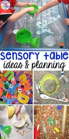 Sensory table ideas - sensory filler list, sensory tools list plus how to make it meaningful play in your early childhood classroom childhood education Sensory Table Fillers & Tools - Pocket of Preschool Sensory Tubs, Sensory Boxes, Sensory Activities, Sensory Play, Preschool Activities, Sensory Diet, Kindergarten Sensory, Preschool Centers, Preschool Science
