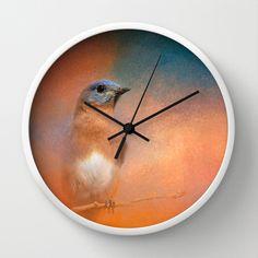 Summer Day Bluebird - Wildlife Wall Clock by Jai Johnson - $30.00
