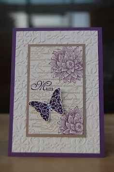 Colours: Perfect PLum, Crumb Cake, Very Vanilla and Elegant Eggplant. The stamp sets used are Creative Elements, En Francais background stamp and For my Family. The embossing folder is Vintage Wallpaper. Butterfly Cards, Flower Cards, Embossed Cards, Stamping Up Cards, Mothers Day Cards, Sympathy Cards, Cute Cards, Creative Cards, Greeting Cards Handmade
